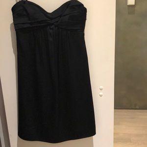 BCBG black satin strapless dress with bow