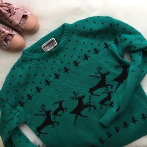 Christmas Sweater Cozy Chunky Deer Pullover