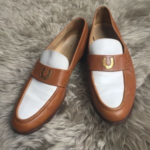 Vintage GUCCI horseshoe loafers tan white 10.5