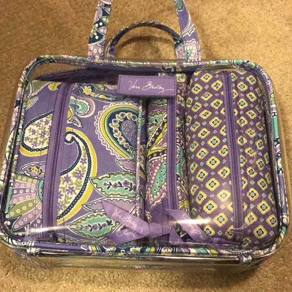 Vera Bradley lavender paisley 4pc cosmetic set 556bba88ebe3d