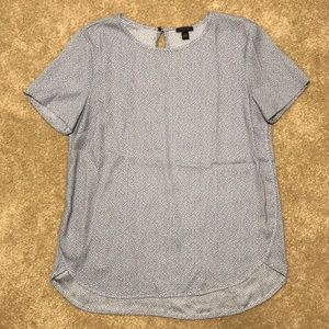 Ann Taylor LOFT Clean Tee in Light Blue & Navy Dot