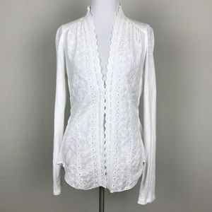 [Anthropologie] TINY White Eyelet Cardigan Cotton