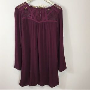 Dresses & Skirts - Wine Lace Detailed Swing Dress