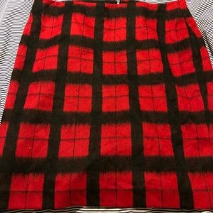 Talbots wool lined black and red skirt