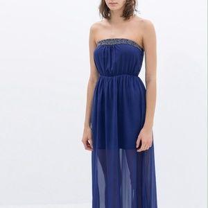 ZARA Indigo Blue Beaded Strapless Long Maxi Dress