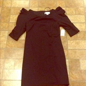 Jessica Simpson Black Plssted Shoulder Puff Dress