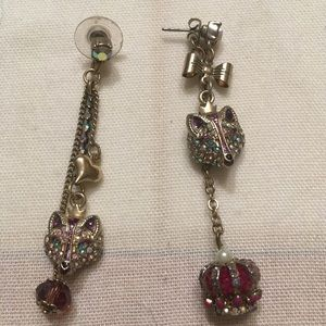 Betsey Johnson fox with crown mis-match earrings