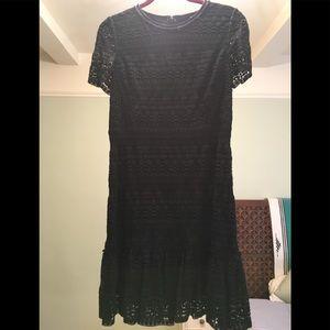 Elie Tahari black Jacey lace short sleeve dress