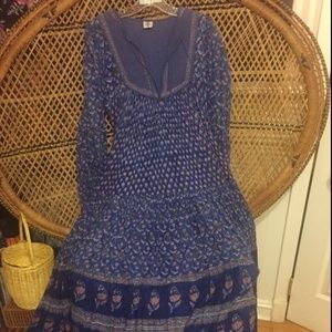 Vintage Indian Cotton Gauze Spell Gypsy Gown 1970s