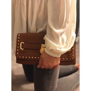 Michael Kors Leather Whipstitch Hamilton Clutch