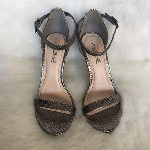 Lulus Silver/Pewter Ankle Strap Heels