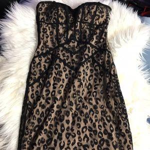 Bebe Cheetah Lace Strapless Dress size XS