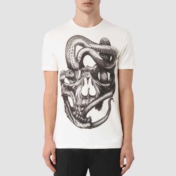 fcab392c2 All Saints Shirts   Nwot Allsaints Graphic Skull Oversized Tee Sz S ...