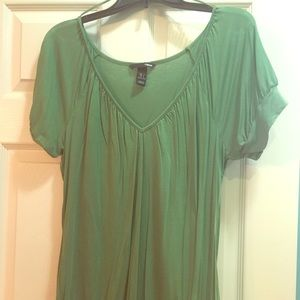 Heather green bubble blouse