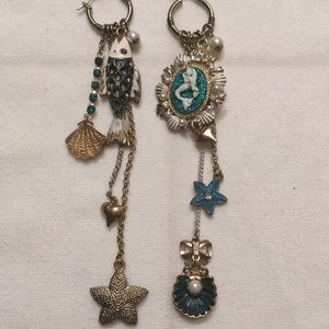 Betsey Johnson mermaid and fish mis-match earrings