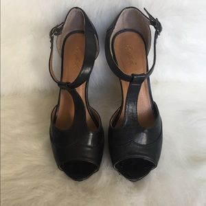 Black T-Strap Platform Wooden Heels