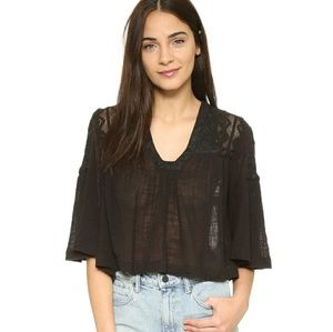 FREE people carry me away gauze embroidered top L