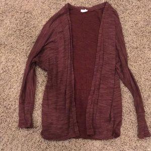 Lightly worn burgundy cardigan