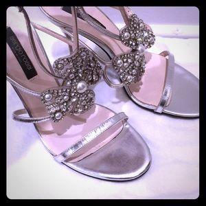 Sergio Rossi RARE Silver, Crystal & Pearl heels