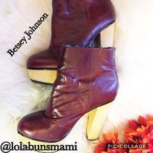 Betsey  Johnson  Leather Mayville Heeled Boots