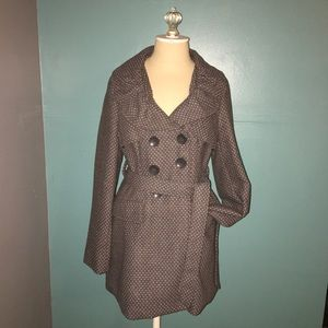 Wet Seal Gray & Pink Polka Dot Belted Bow Coat XL