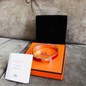 Authentic Hermès Clic Clac H Bracelet Enamel Red