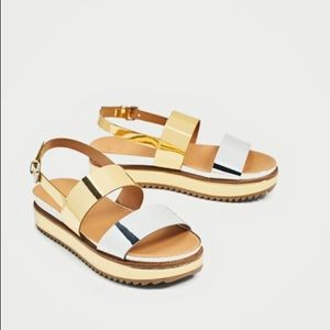 ZARA - WOMAN - METALLIC PLATFORM SANDALS