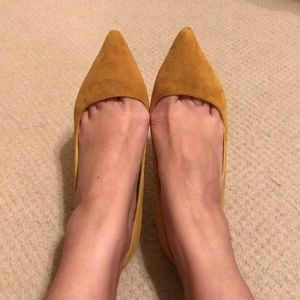 ShoeMint yellow suede point-toe pump