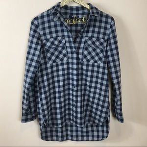 Madewell Plaid Flannel High/Low Button Down Tunic