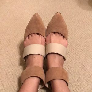 ShoeMint nude ankle strap point-toe pump