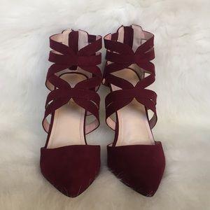 Lulus Maroon Strappy Ankle Heels