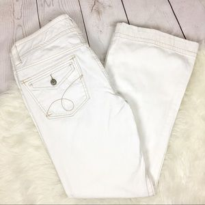 Cabi White Denim Flap Pocket Flare Jeans