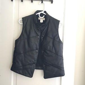 Black J. Crew Leather Vest