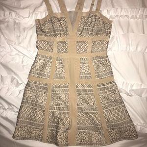 BCBGMaxAzria Lace Overlay Peplum dress