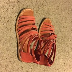 Cute, Red, strappy sandals from Gap
