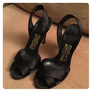Ferregamo satin sling back high heels