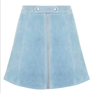 Top shop suede skirt zipper a-line dusty blue