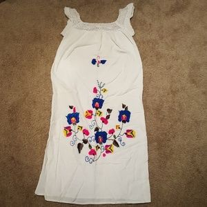 Vtg Embroidered Mexican Day Dress sz sm/med