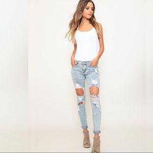 Denim - NWT Distressed Mid Rise Skinny Denim Jeans
