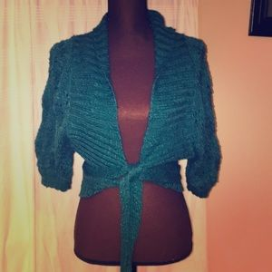 Teal knitted sweater wrap