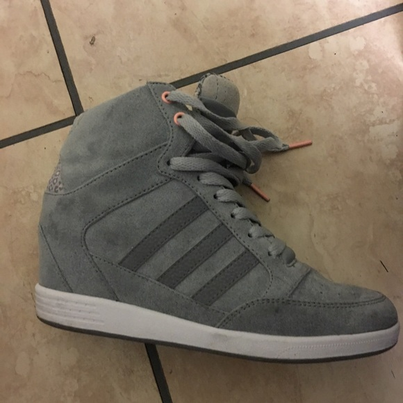 adidas Pink Shoes Wedge Sneakers Gray With Pink adidas Trim Poshmark bb4257