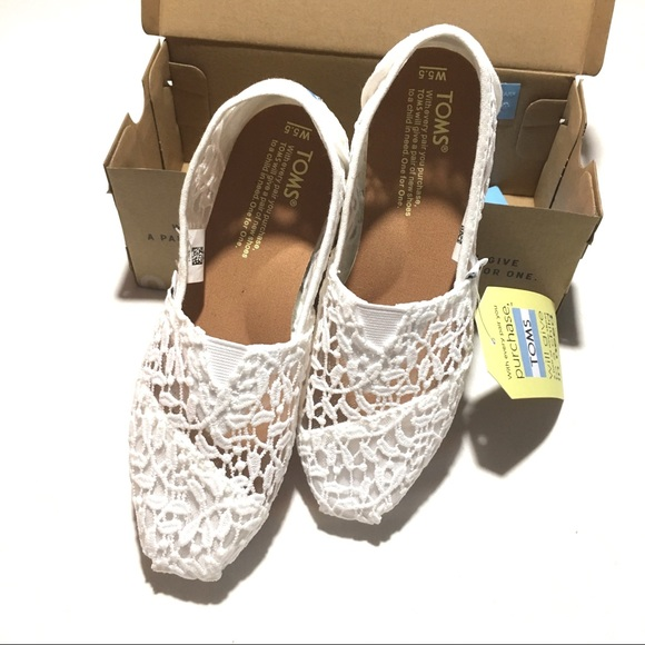 e7040f7f Toms Shoes | White Lace Leaves Classic Slip On | Poshmark