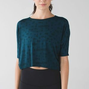 Lululemon Go Om Short Sleeve Dolman Crop Top