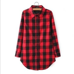 Tops - Red & Black plaid button down shirt.