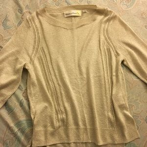 Anthropologie Charlie & Robin cream shiny sweater.