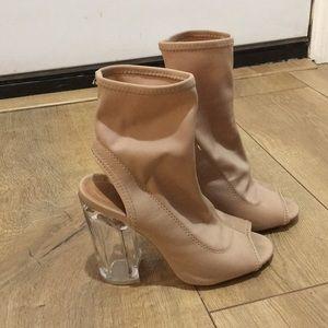 Nude acrylic heels