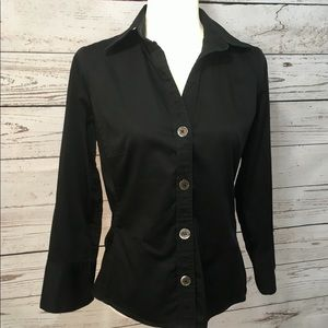 Banana Republic black button front V-neck blouse