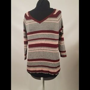 Rue 21 Gray, Maroon, & Pink Striped Sweater