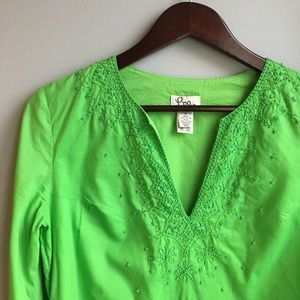 Lilly Pulitzer green beaded tunic top