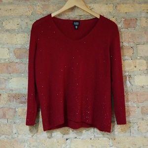 Eileen Fisher Red Sequin Merino Wool Sweater